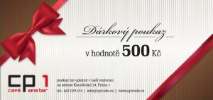 Sample Christmas gift voucher to the restaurant and wine bar CP1, Prague 1