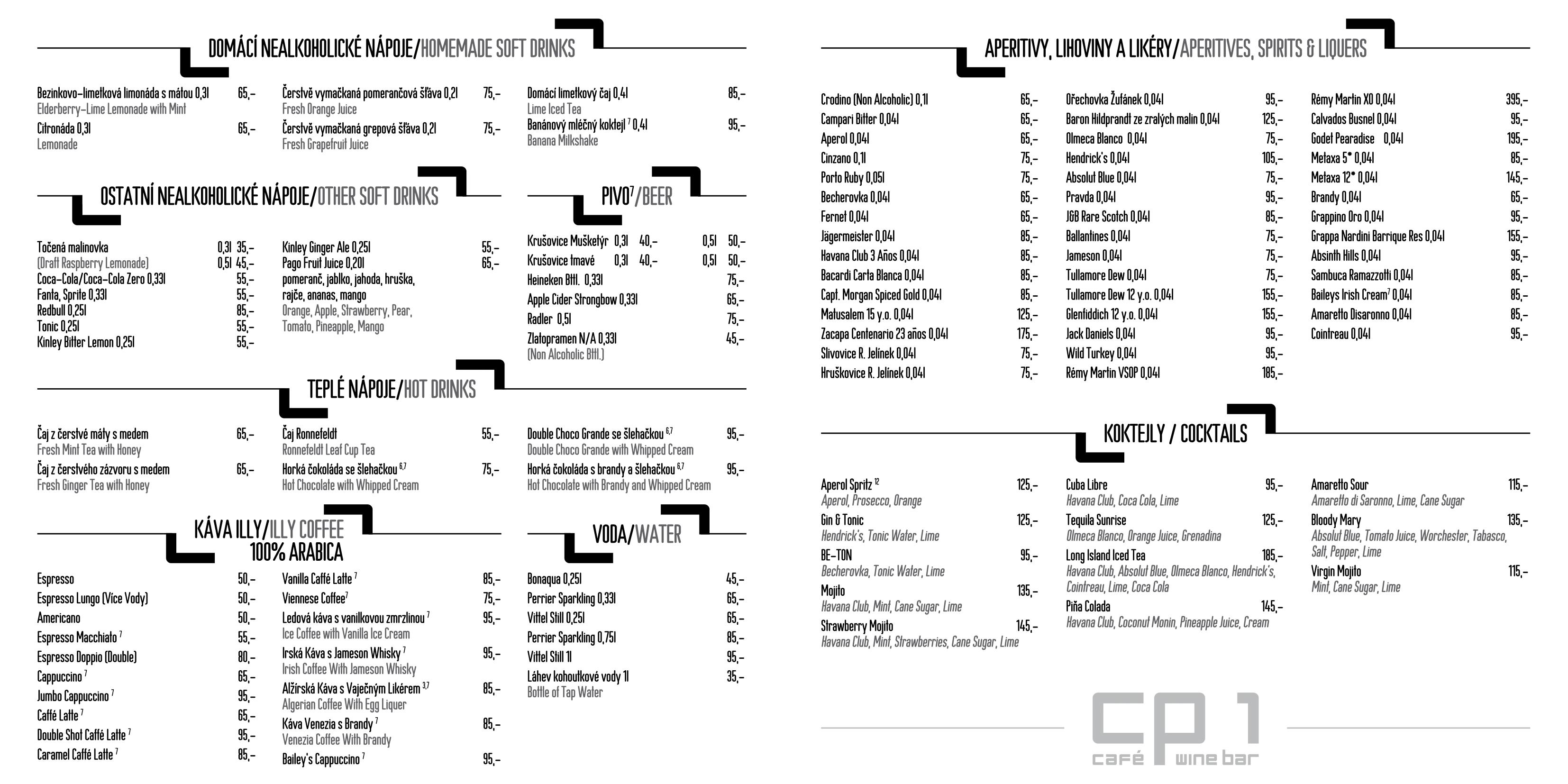 Menu - Jídelní lístek restaurace CP1 v Praze 1 - strana 4