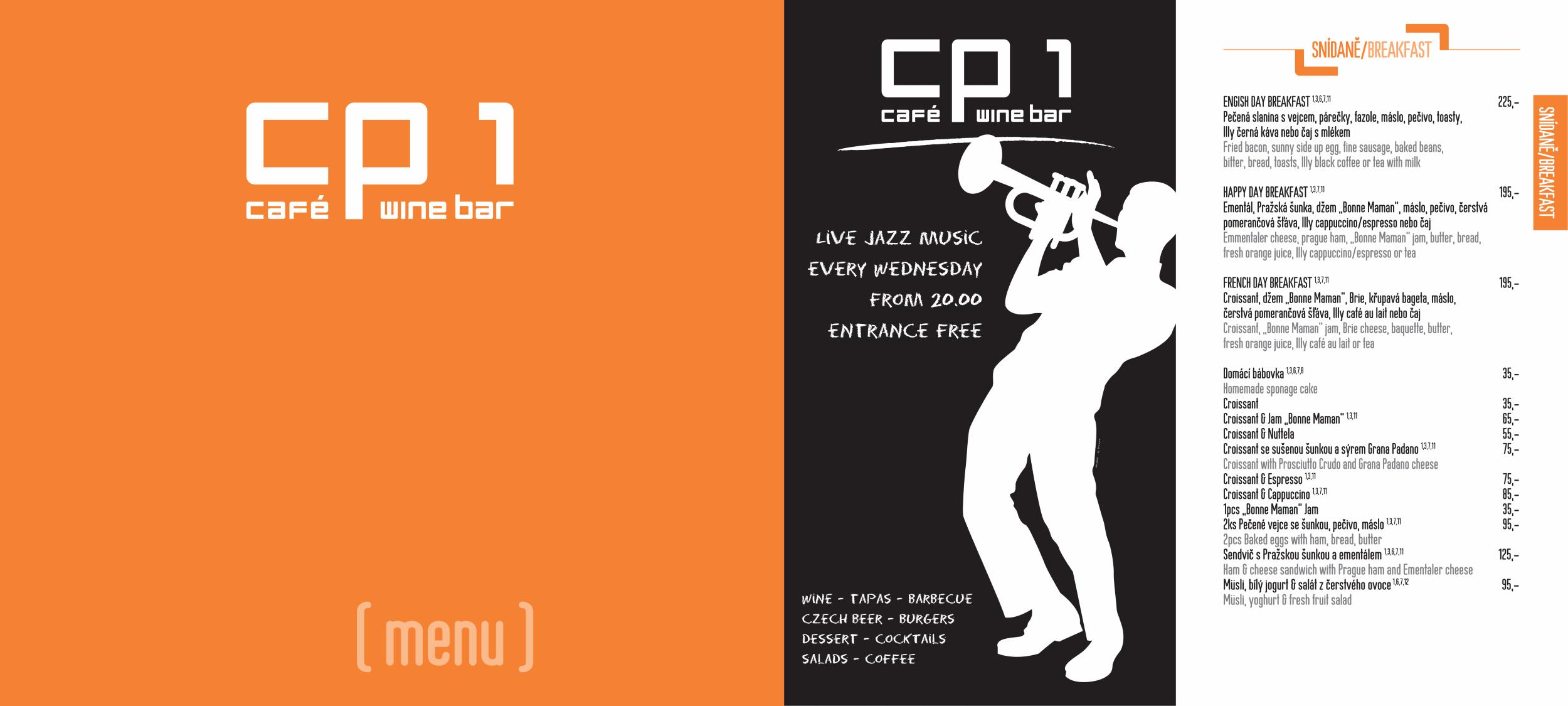 Menu - Jídelní lístek restaurace CP1 v Praze 1 - strana úvod