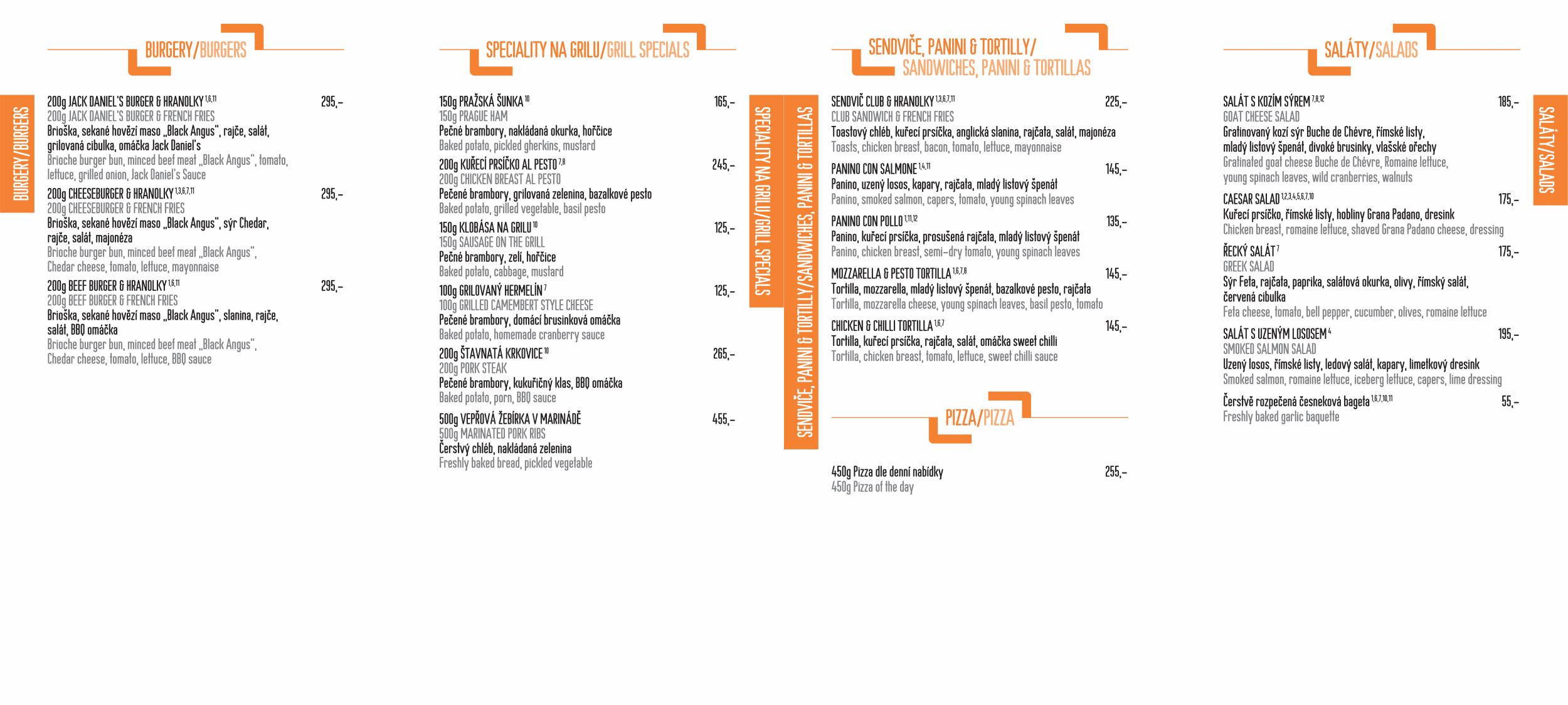 Menu - Jídelní lístek restaurace CP1 v Praze 1 - strana 2