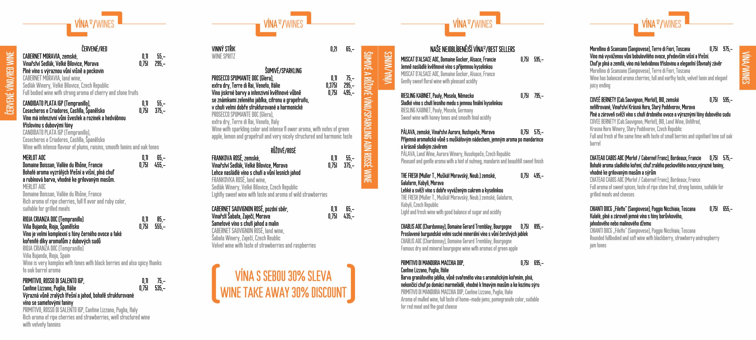 Menu - Jídelní lístek restaurace CP1 v Praze 1 - strana 6