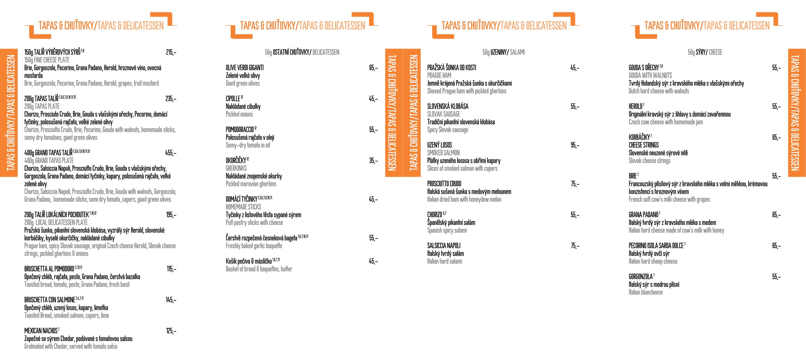 Menu - Jídelní lístek restaurace CP1 v Praze 1 - strana 1